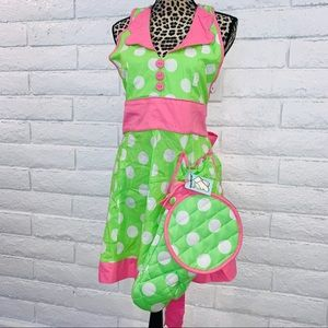 Apron & Set of 2 Oven Mits Pink, green, white dots